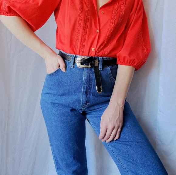 Ultra high waisted vintage Lee denim jeans straigh